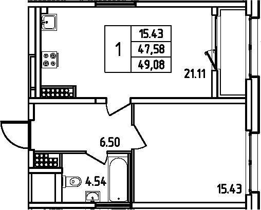 2Е-к.кв, 49.08 м²