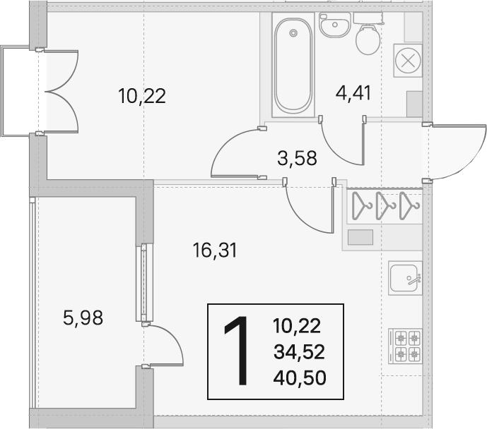 2Е-к.кв, 34.52 м²