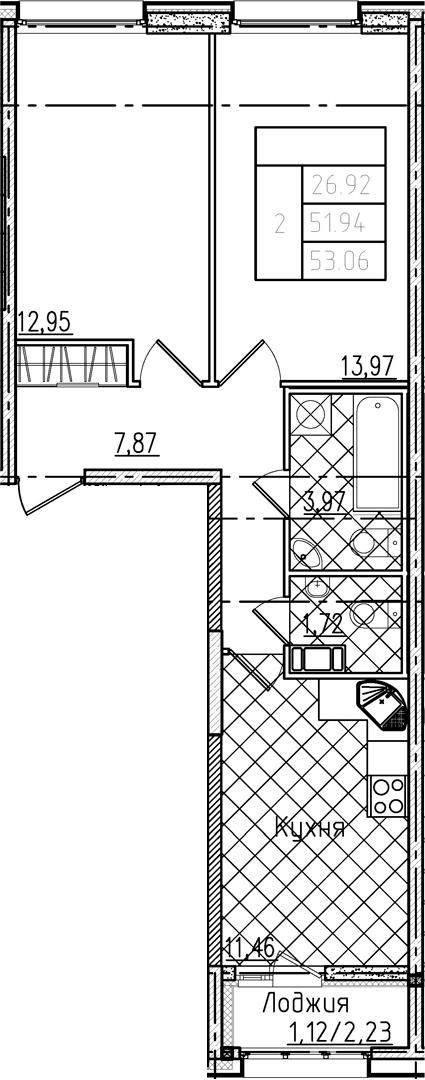 2-комнатная, 53.06 м²– 2