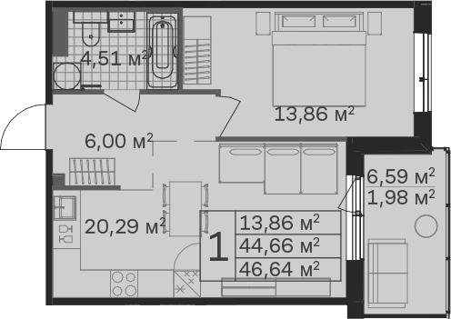 2Е-комнатная, 46.64 м²– 2