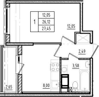 1-к.кв, 26.12 м²