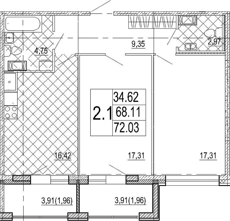 3Е-к.кв, 72.03 м²