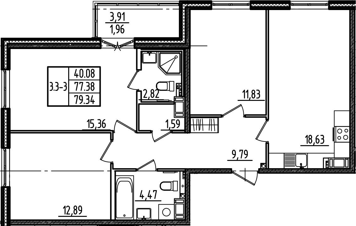 4Е-к.кв, 79.34 м²