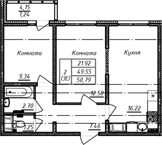 3Е-к.кв, 50.79 м², от 3 этажа