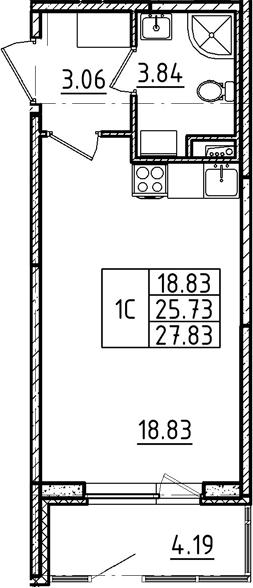 Студия, 27.83 м²