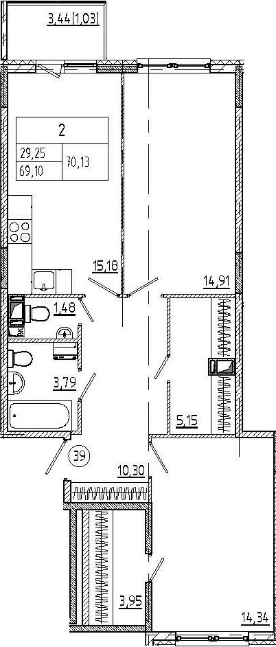 2-к.кв, 72.53 м²