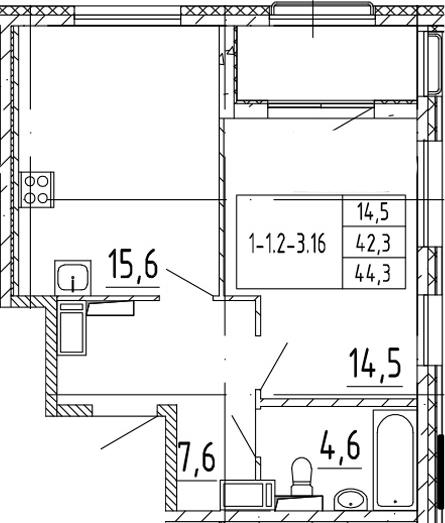 2Е-к.кв, 44.3 м²