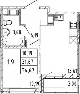 2Е-к.кв, 31.67 м², от 11 этажа