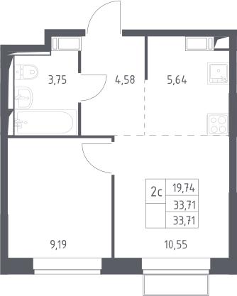 2Е-комнатная, 33.71 м²– 2