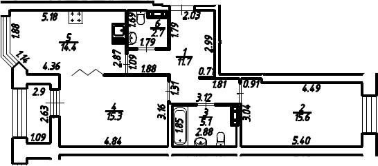 2-к.кв, 66.3 м², 12 этаж