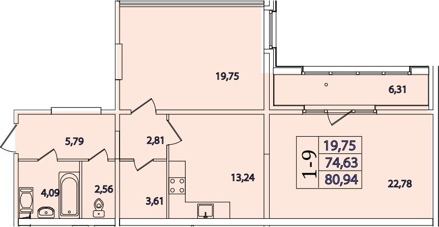 1-к.кв, 87.25 м²