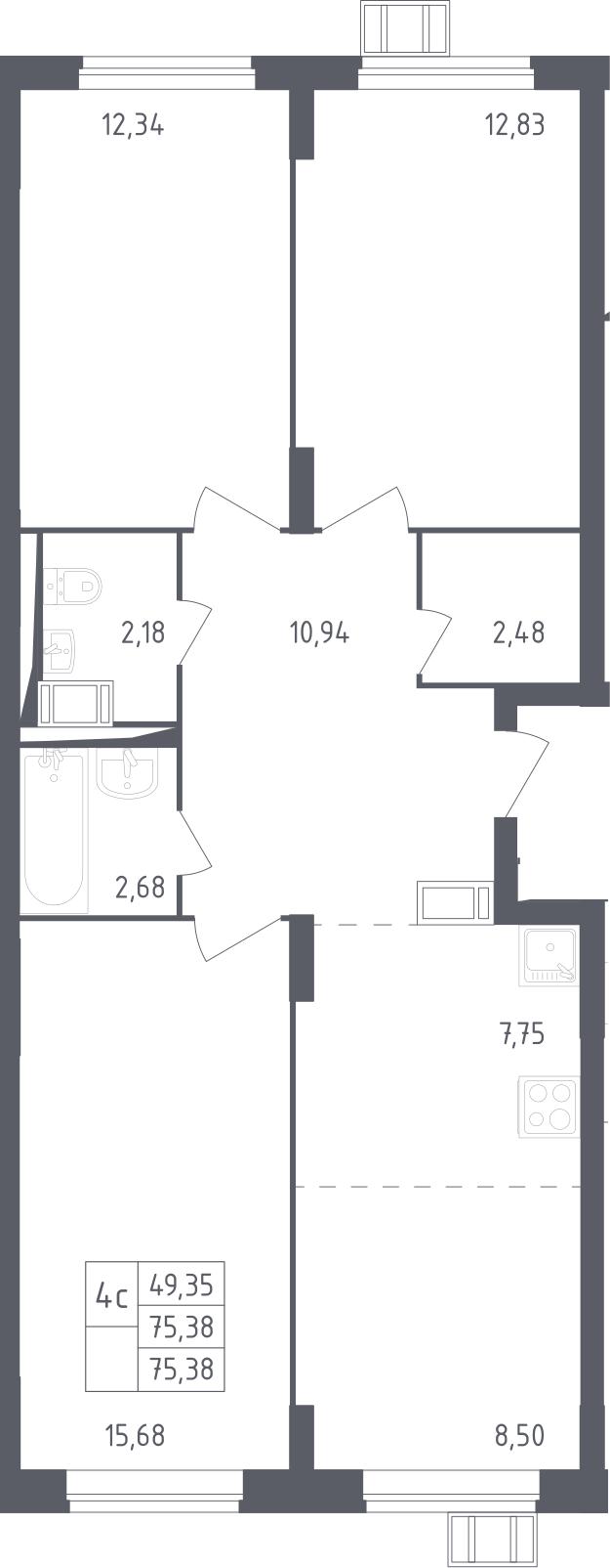 4Е-к.кв, 75.38 м², от 9 этажа