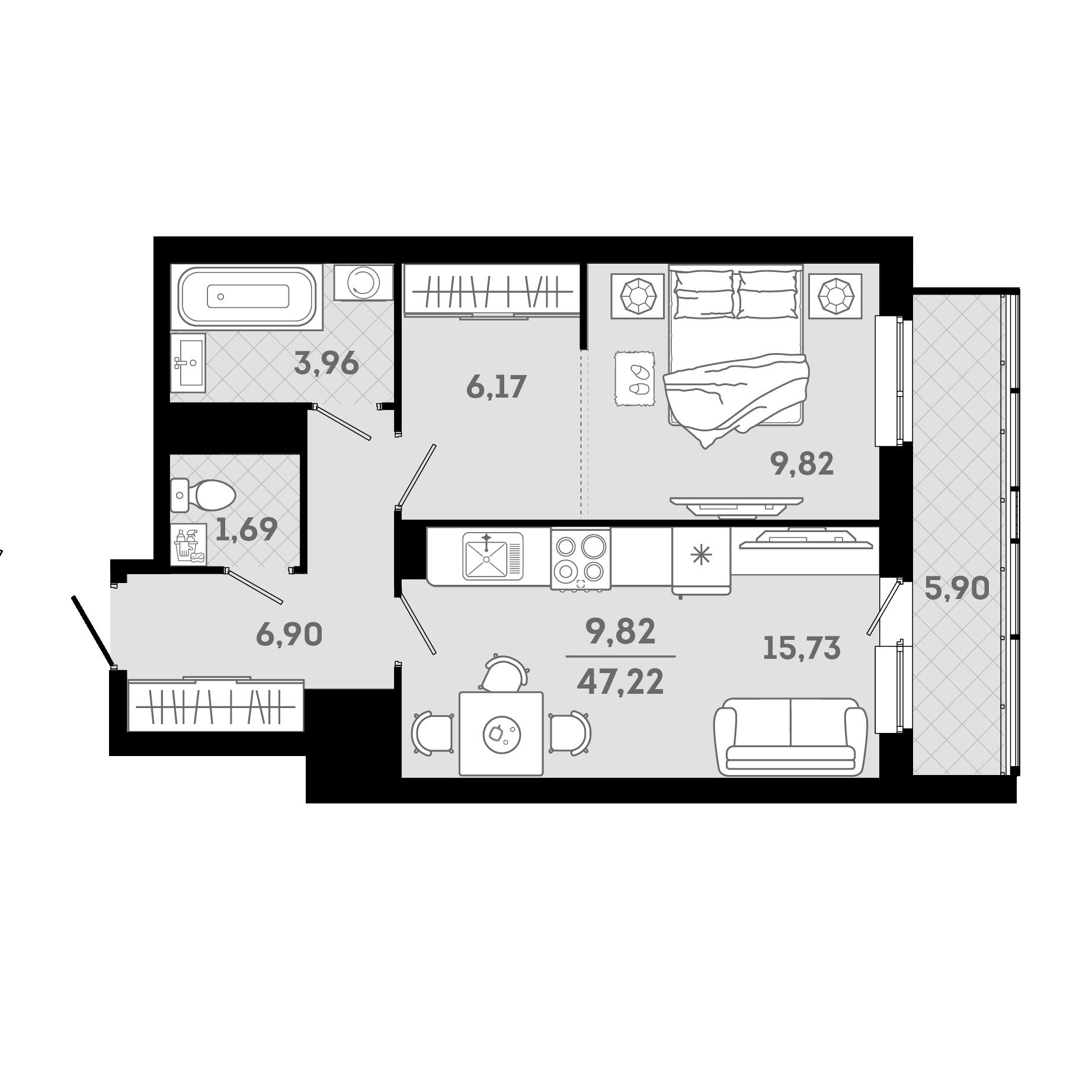 2Е-комнатная, 47.22 м²– 2