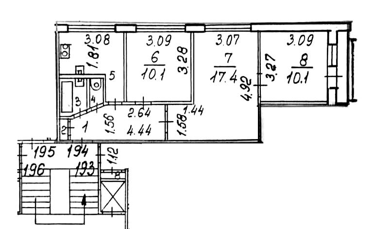 3-к.кв, 53.8 м²