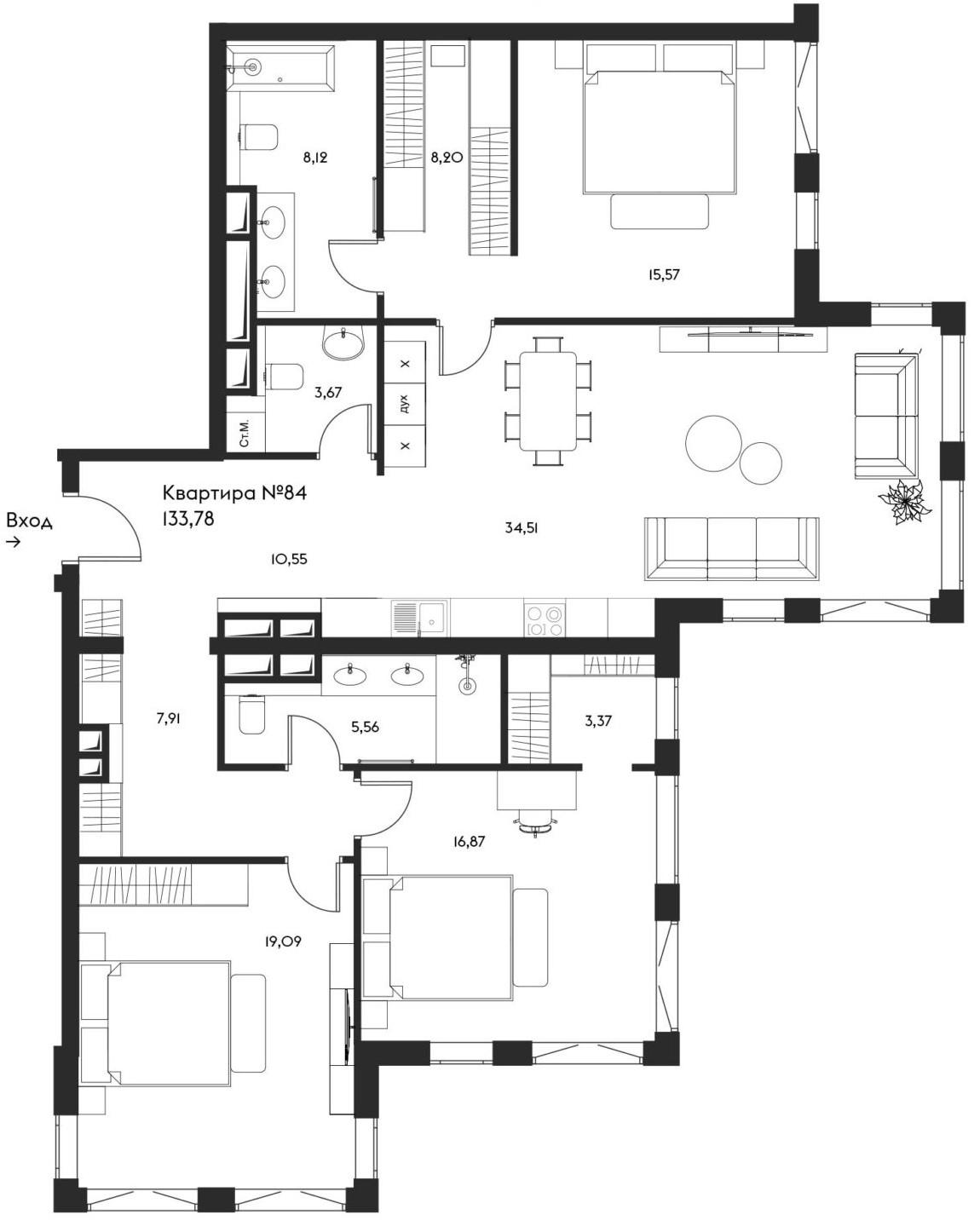4Е-комнатная, 133.78 м²– 2