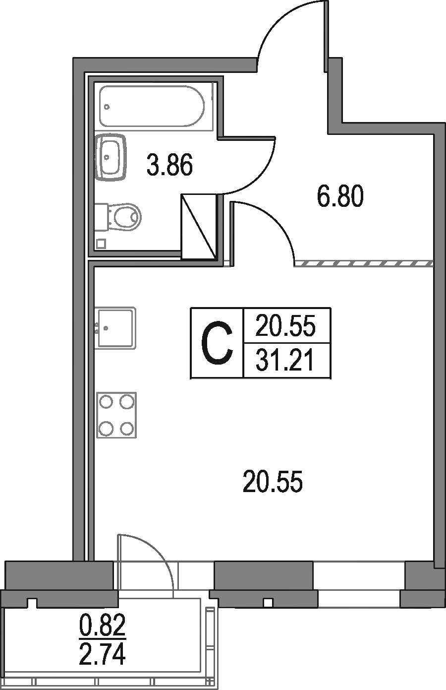 Студия, 31.21 м²– 2
