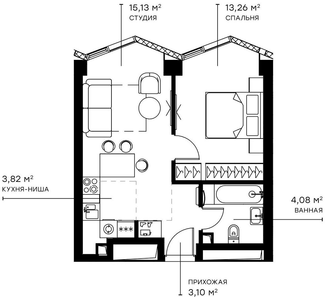 2Е-комнатная, 39.39 м²– 2