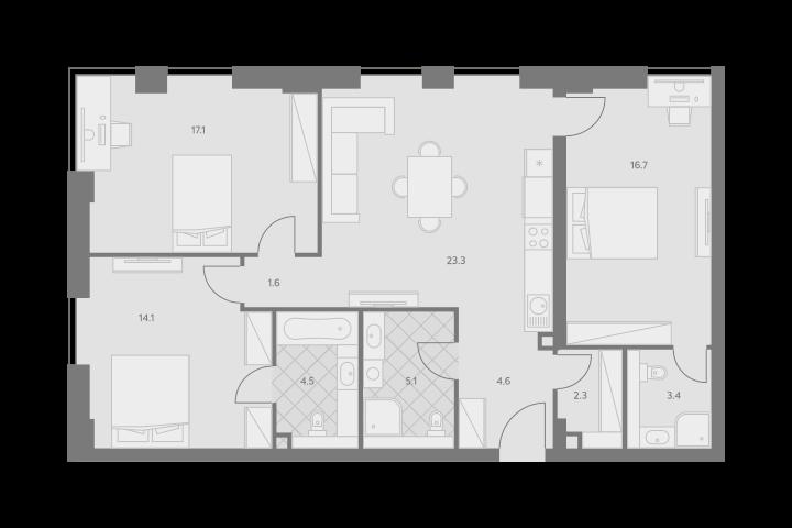 4Е-комнатная, 93.2 м²– 2