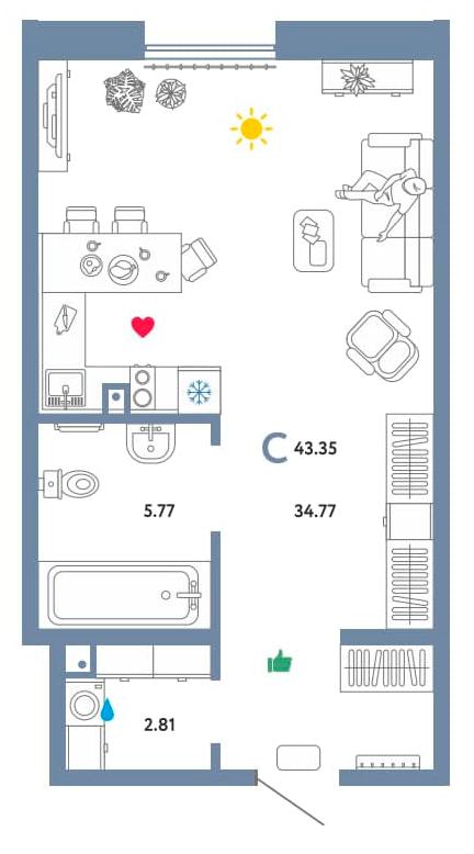 Студия, 43.35 м²