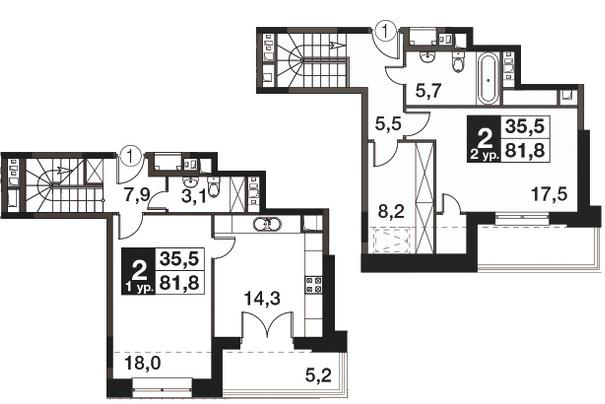 2-к.кв, 84.4 м²