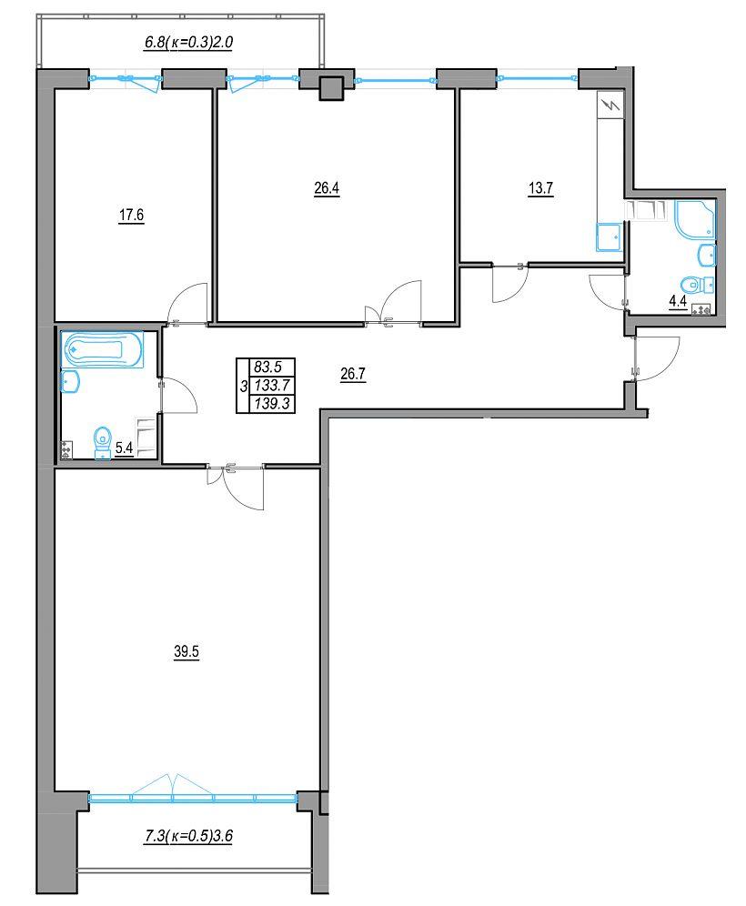 3-к.кв, 138.47 м²