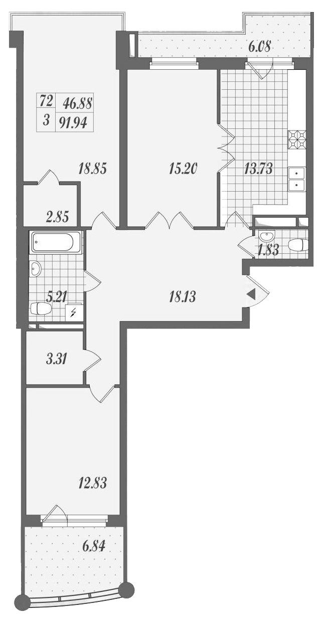 3-к.кв, 104.6 м²