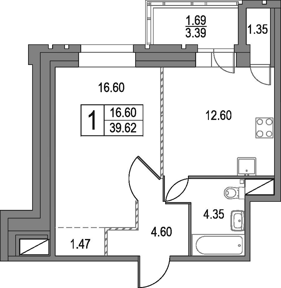 1-к.кв, 39.62 м²