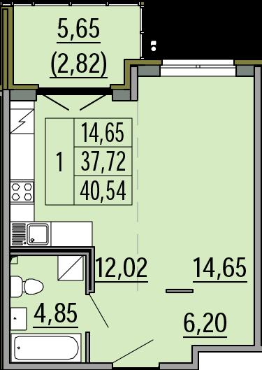 Студия, 40.54 м², 1 этаж – Планировка