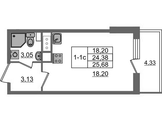 Студия, 25.66 м²