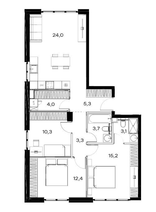 4Е-комнатная, 81.3 м²– 2