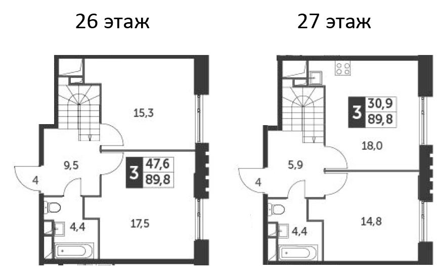 4Е-к.кв, 89.8 м², 26 этаж