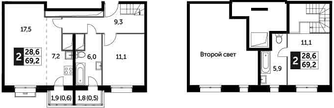 3Е-к.кв, 69.2 м², 17 этаж