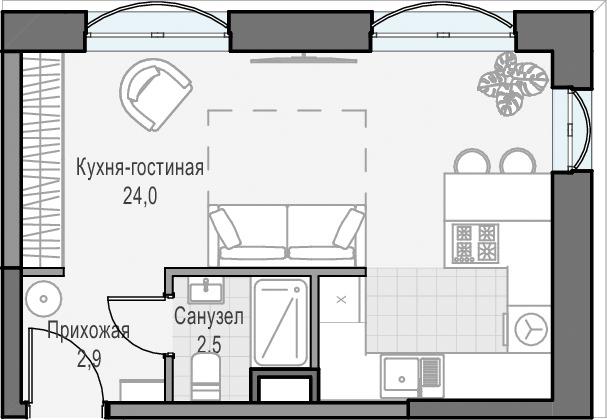Студия, 29.4 м², 10 этаж