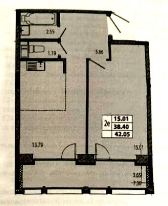1-комнатная, 42.05 м²– 2