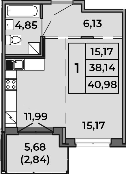 Студия, 38.14 м², 1 этаж
