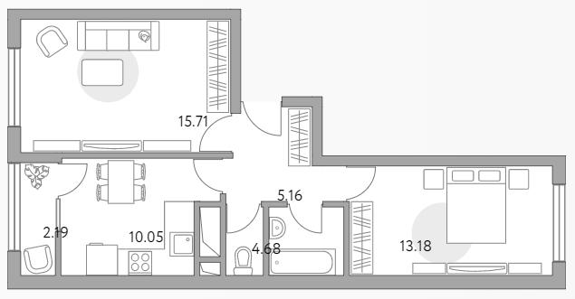 2-к.кв, 50.97 м²