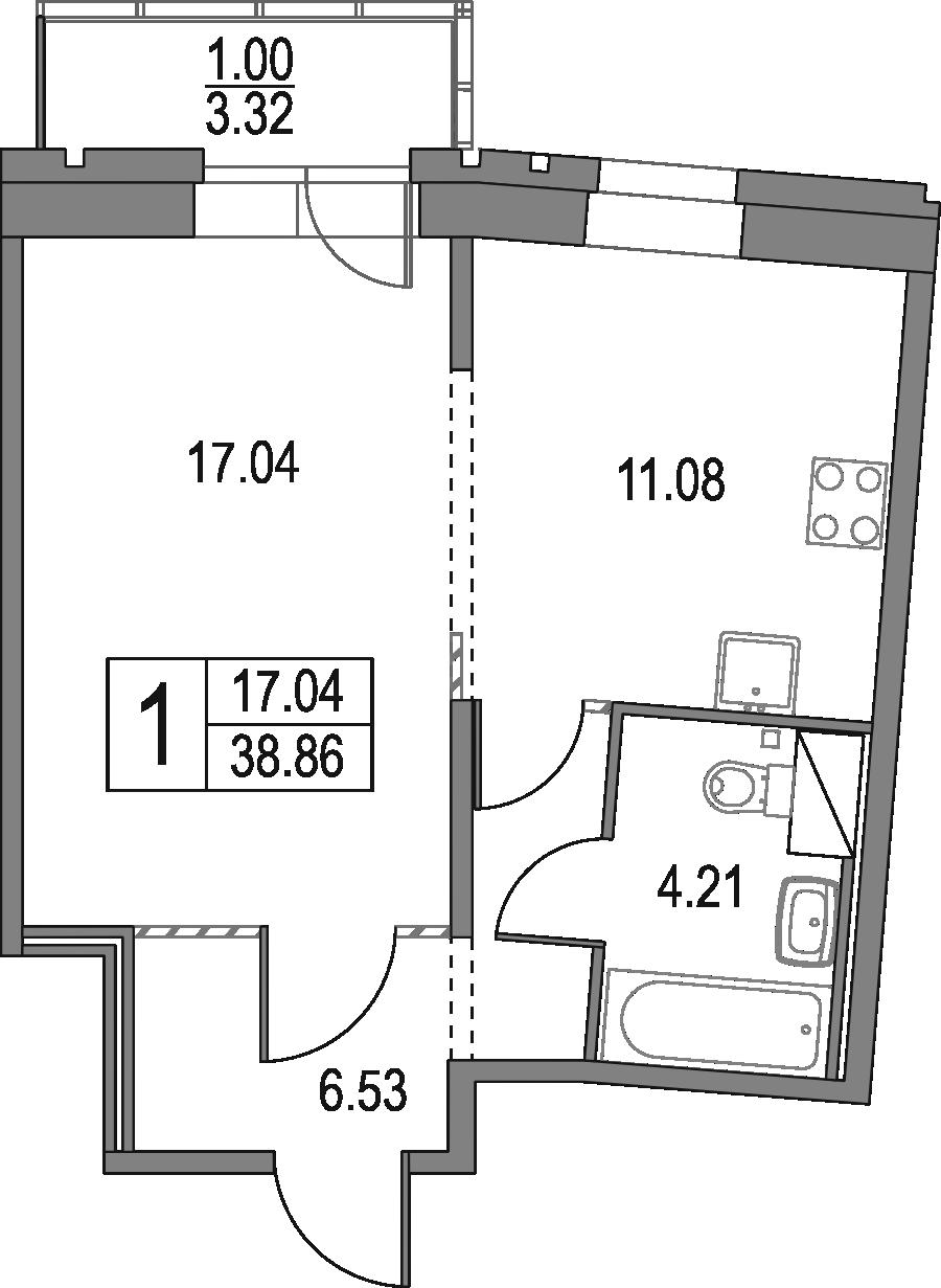 1-комнатная квартира, 38.86 м², 14 этаж – Планировка