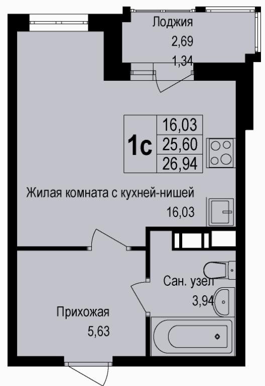 Студия, 26.94 м²– 2