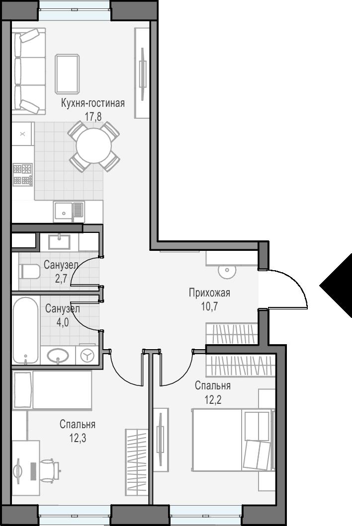 3Е-к.кв, 58.8 м², 3 этаж