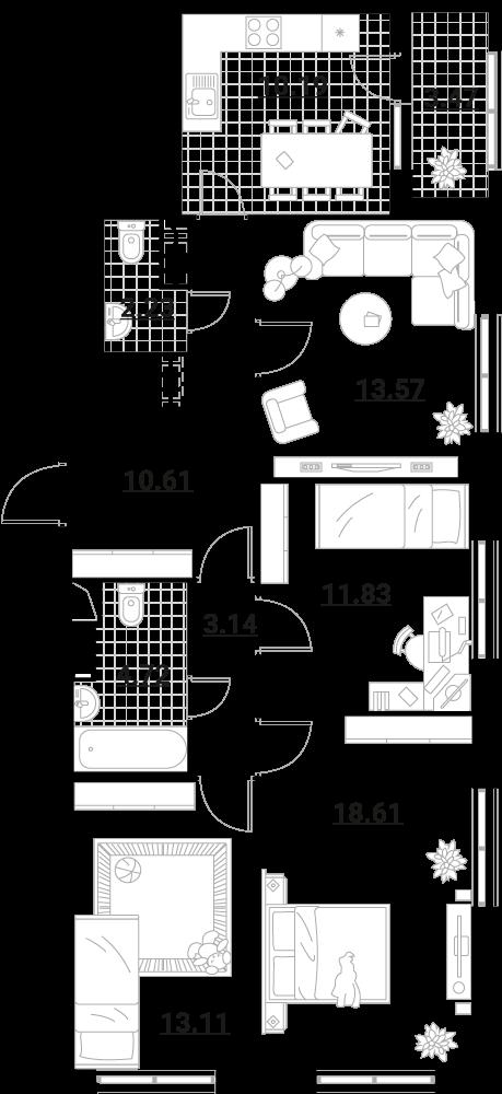 4-комнатная, 91.48 м²– 2