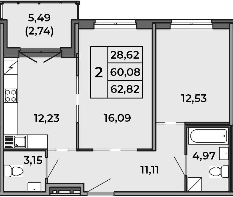 2-к.кв, 62.82 м²