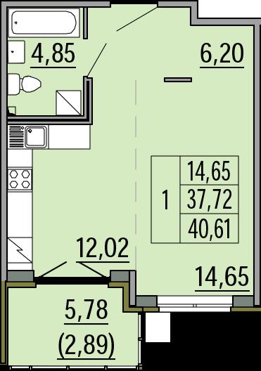 Студия, 40.61 м²– 2