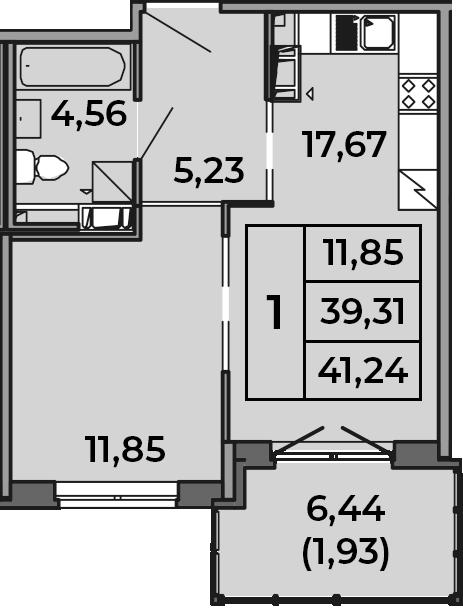 2Е-к.кв, 39.31 м², 4 этаж