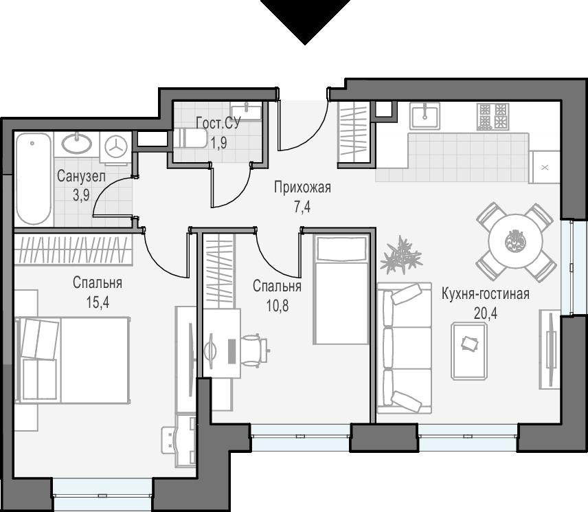 3Е-к.кв, 59.7 м², 3 этаж