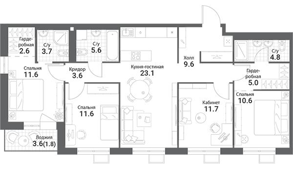 5Е-к.кв, 105.3 м²