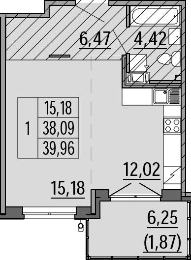 Студия, 39.96 м²– 2
