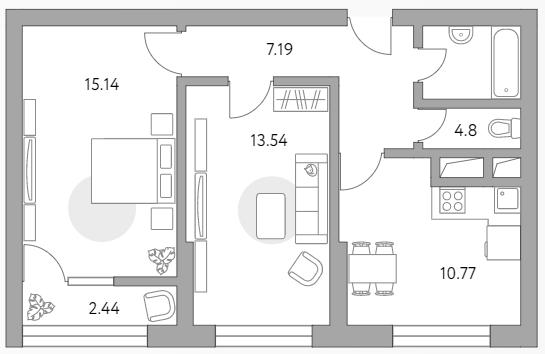 2-к.кв, 53.88 м²