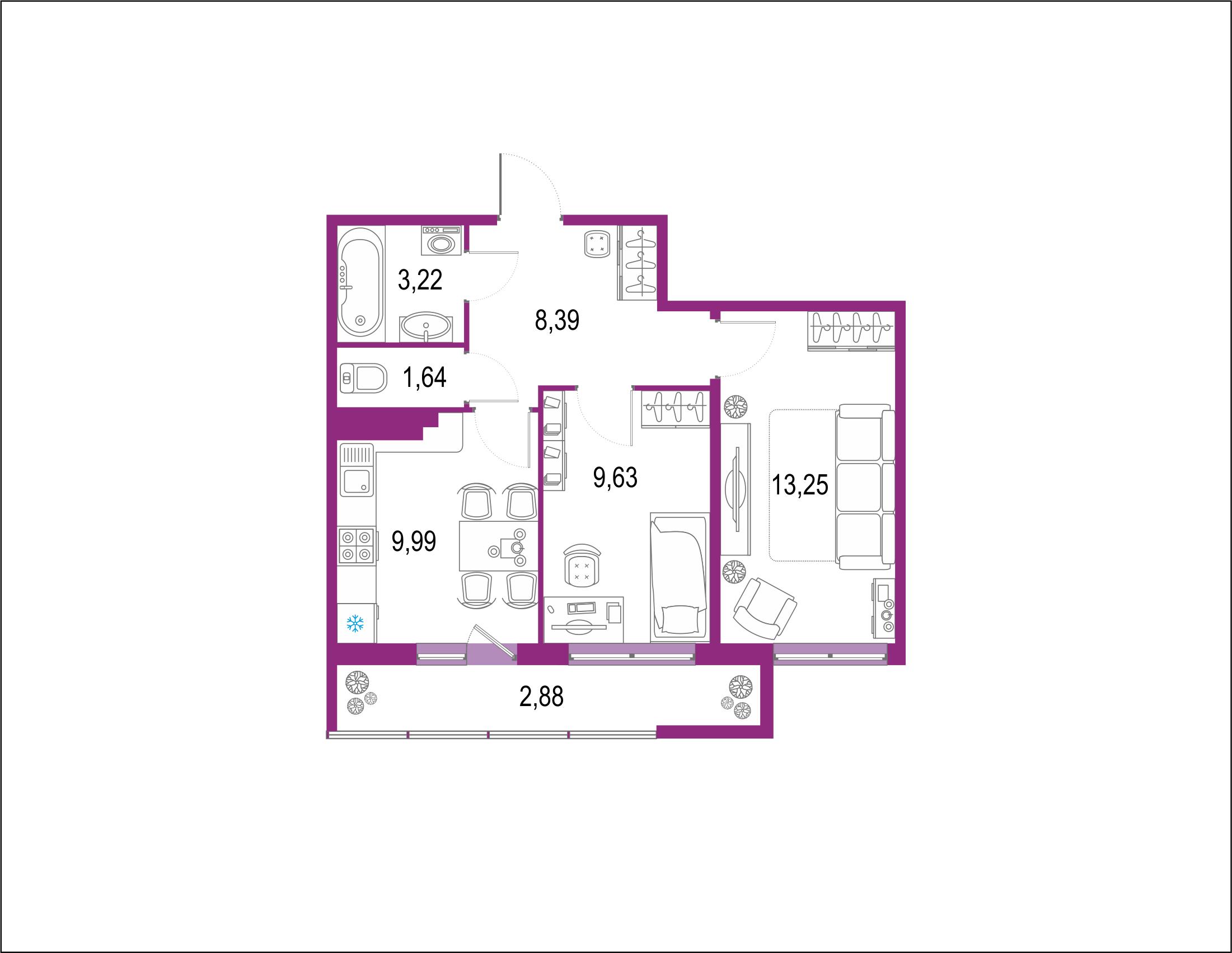 2-комнатная, 49 м²– 2
