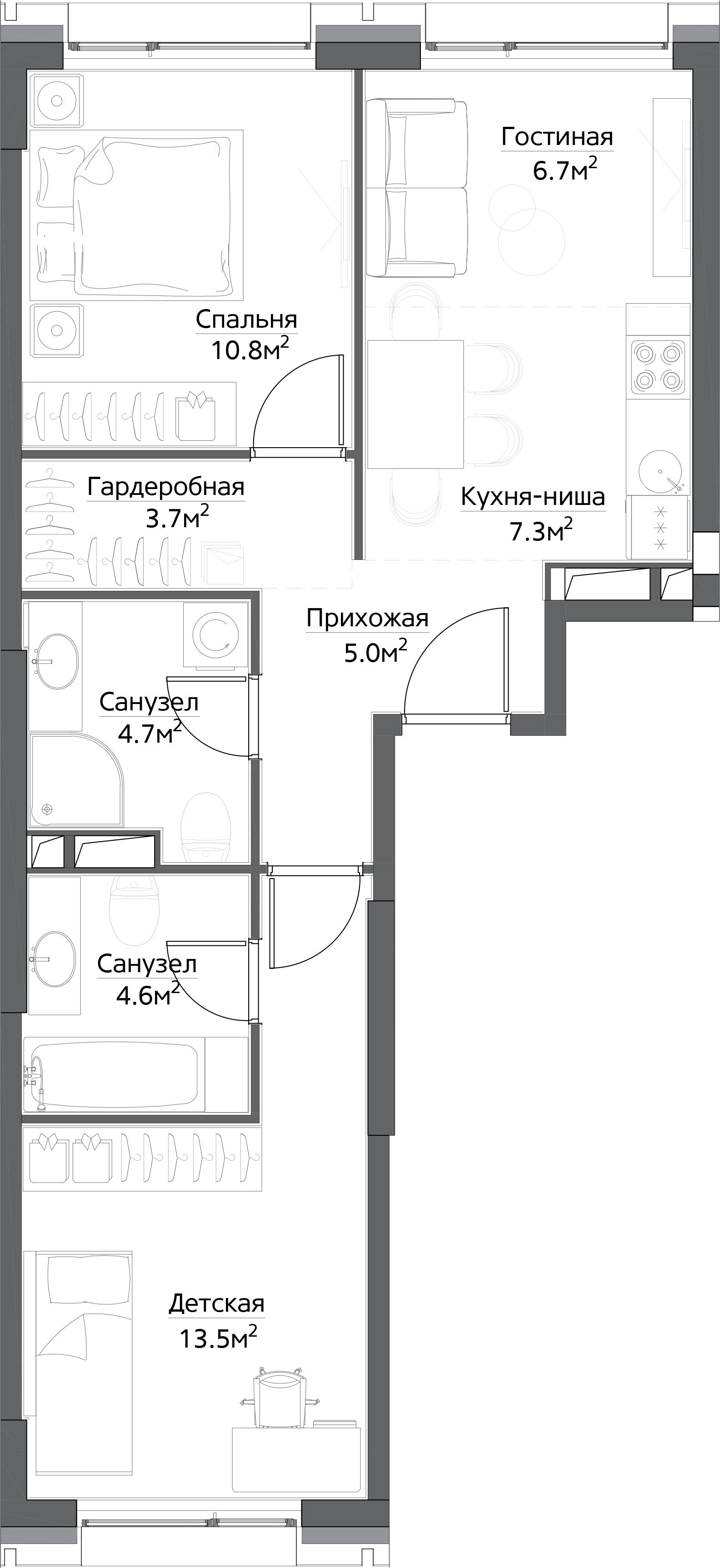 2-к.кв, 56.3 м²