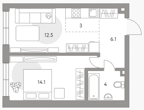 2Е-к.кв, 39.7 м²